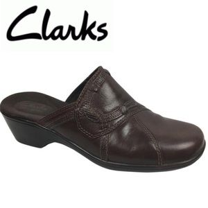 Clarks Daisy Brown Leather Mule Clog Shoe 7